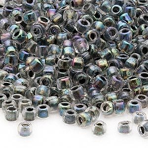 seed bead, dyna-mites™, glass, transparent rainbow inside color peacock, #6 round. sold per 1/2 kilogram pkg.