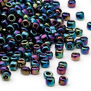 seed bead, dyna-mites™, glass, transparent rainbow iris, #6 round. sold per 40-gram pkg.