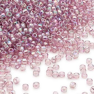 seed bead, dyna-mites™, glass, transparent rainbow lilac, #11 round. sold per 1/2 kilogram pkg.