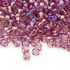 seed bead, dyna-mites™, glass, transparent rainbow lilac, #6 round. sold per 40-gram pkg.