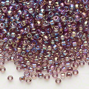 seed bead, dyna-mites™, glass, transparent rainbow lilac, #8 round. sold per 1/2 kilogram pkg.