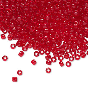 seed bead, dyna-mites™, glass, transparent red, #8 round. sold per 1/2 kilogram pkg.
