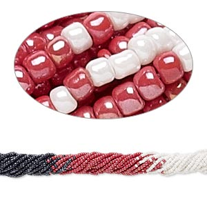 seed bead, glass, opaque luster black / red / white, #11 round. sold per pkg of (10) 16-inch strands.