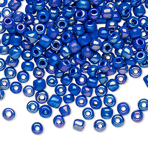 seed bead, glass, opaque rainbow royal blue, #6 round. sold per 20-gram vial.