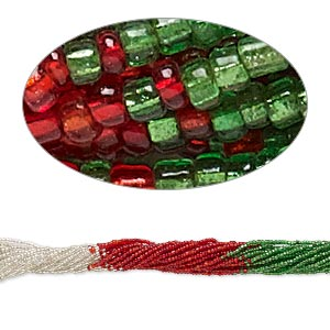 seed bead, glass, transparent silver-lined green / red / clear, #11 round. sold per pkg of (10) 16-inch strands.