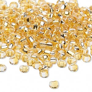 seed bead, glass, two-toned silver-lined light gold/silver, 3-4mm irregular round. sold per pkg of 250 grams.