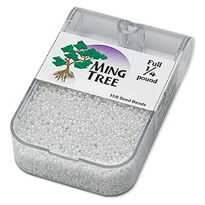 seed bead, ming tree™, glass, opaque ceylon white, #11 round. sold per 1/4 pound pkg.