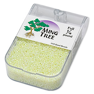 seed bead, ming tree™, glass, opaque ceylon yellow, #11 round. sold per 1/4 pound pkg.