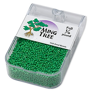seed bead, ming tree™, glass, opaque green, #11 round. sold per 1/4 pound pkg.
