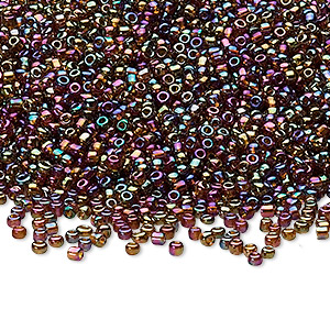 seed bead, ming tree™, glass, opaque rainbow gold purple, #11 round. sold per 1-pound pkg.
