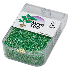 seed bead, ming tree™, glass, opaque rainbow green, #11 round. sold per 1/4 pound pkg.