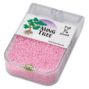 seed bead, ming tree™, glass, transparent color-lined pink, #11 round. sold per 1/4 pound pkg.