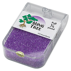 seed bead, ming tree™, glass, transparent color-lined purple, #11 round. sold per 1/4 pound pkg.