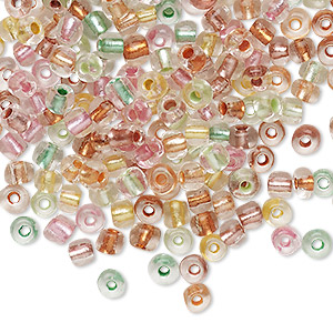 seed bead mix, glass, translucent clear color-lined mixed colors, #6 round. sold per 20-gram vial.