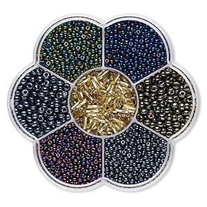 seed bead mix, preciosa, czech glass, mixed metallic colors, #11 to #3. sold per 132-gram box.