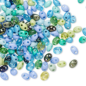 seed bead mix, preciosa twin™, czech pressed glass, opaque to transparent mixed colors, 5x2.5mm oval with 2 holes. sold per 10-gram pkg.