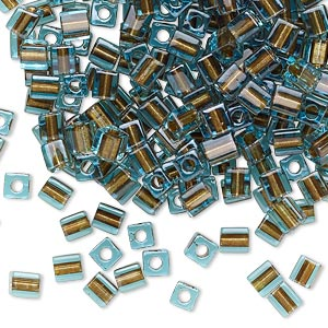seed bead, miyuki, glass, blue color-lined brown, (sb2642), 3.5-3.7mm square. sold per 25-gram pkg.