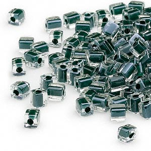seed bead, miyuki, glass, clear color-lined black, (sb1106), 3.5-3.7mm square. sold per 25-gram pkg.