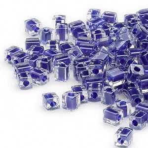seed bead, miyuki, glass, clear color-lined cobalt, (sb239), 3.5-3.7mm square. sold per 250-gram pkg.
