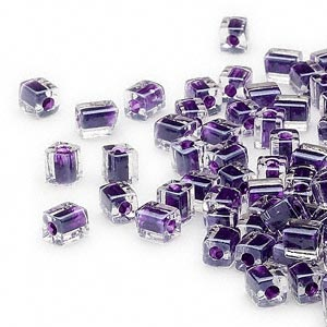 seed bead, miyuki, glass, clear color-lined dark purple, (sb223), 3.5-3.7mm square. sold per 250-gram pkg.