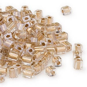 seed bead, miyuki, glass, clear color-lined gold, (sb234), 3.5-3.7mm square. sold per 25-gram pkg.
