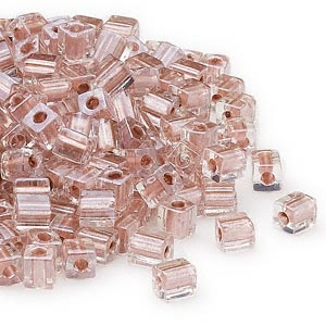 seed bead, miyuki, glass, clear color-lined metallic copper, (sb2602), 3.5-3.7mm square. sold per 25-gram pkg.