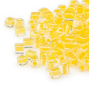 seed bead, miyuki, glass, clear color-lined yellow, (sb202), 3.5-3.7mm square. sold per 25-gram pkg.