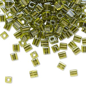 seed bead, miyuki, glass, green color-lined metallic green, (sb2635), 3.5-3.7mm square. sold per 25-gram pkg.