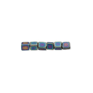 seed bead, miyuki, glass, opaque frosted rainbow black, (sb401fr), 3.5-3.7mm square. sold per 25-gram pkg.