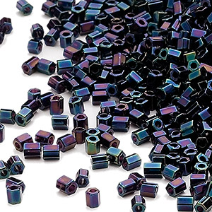 seed bead, miyuki, glass, opaque gunmetal blue, (hex-612), #11 hex 2-cut. sold per 50-gram pkg.