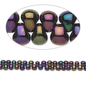 seed bead, miyuki, glass, opaque gunmetal dark wine, (dp454), 3.3x2.8mm mini fringe. sold per 10-gram pkg.