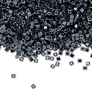 seed bead, miyuki, glass, opaque metallic hematite, (sb451), 1.8mm square. sold per 25-gram pkg.