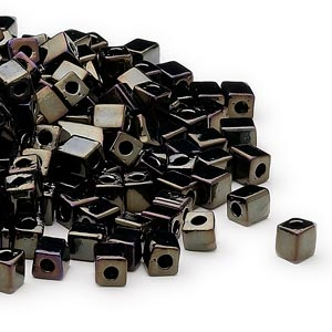 seed bead, miyuki, glass, opaque metallic iris black, (sb458), 3.5-3.7mm square. sold per 250-gram pkg.