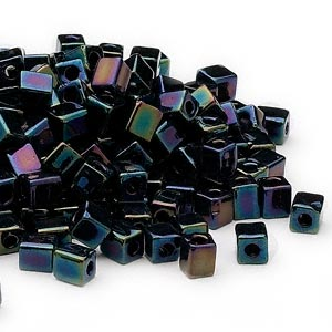 seed bead, miyuki, glass, opaque metallic purple, (sb452), 3.5-3.7mm square. sold per 25-gram pkg.