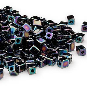 seed bead, miyuki, glass, opaque rainbow black, (sb401r), 3.5-3.7mm square. sold per 25-gram pkg.