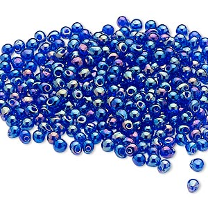 seed bead, miyuki, glass, opaque rainbow cobalt, (dp177), 3.3x2.8mm mini fringe. sold per 250-gram pkg.
