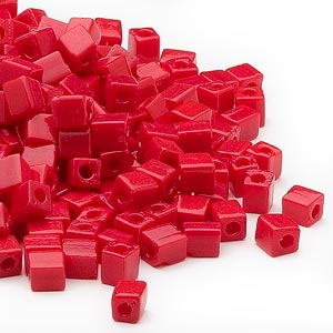 seed bead, miyuki, glass, opaque red, (sb407), 3.5-3.7mm square. sold per 250-gram pkg.
