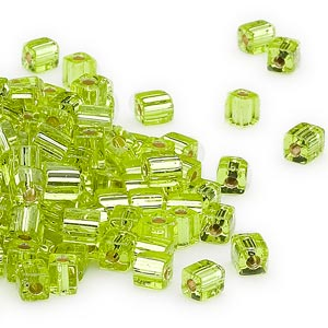 seed bead, miyuki, glass, silver-lined lime, (sb14), 3.5-3.7mm square. sold per 25-gram pkg.