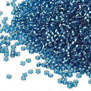 seed bead, miyuki, glass, silver-lined translucent blue, (rr25), #15 rocaille. sold per 35-gram pkg.