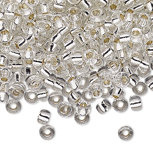 seed bead, miyuki, glass, silver-lined translucent crystal, (rr131s), #6 rocaille. sold per 250-gram pkg.