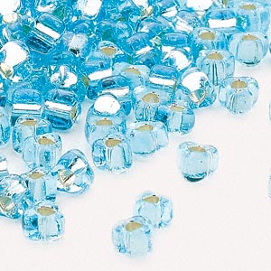seed bead, miyuki, glass, silver-lined translucent light blue, (tr1803), #5 triangle. sold per 250-gram pkg.
