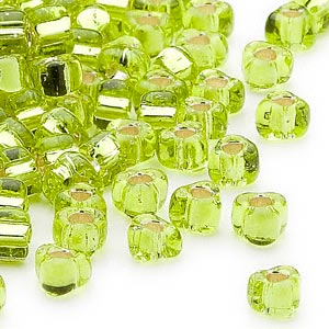 seed bead, miyuki, glass, silver-lined translucent lime, (tr1801), #5 triangle. sold per 25-gram pkg.