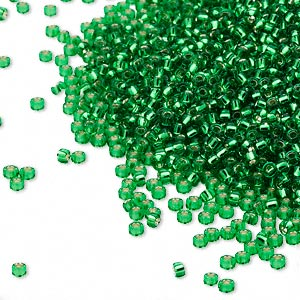 seed bead, miyuki, glass, silver-lined translucent peridot green, (rr16), #15 rocaille. sold per 250-gram pkg.