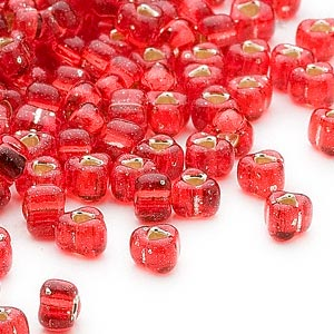 seed bead, miyuki, glass, silver-lined translucent red, (tr1808), #5 triangle. sold per 25-gram pkg.