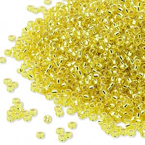 seed bead, miyuki, glass, silver-lined translucent yellow, (rr6), #15 rocaille. sold per 35-gram pkg.