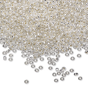 seed bead, miyuki, glass, silver-lined transparent clear, (rr1), #11 rocaille. sold per 250-gram pkg.
