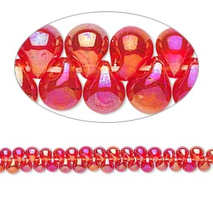 seed bead, miyuki, glass, translucent rainbow red, (dp254), 3.3x2.8mm mini fringe. sold per 250-gram pkg.