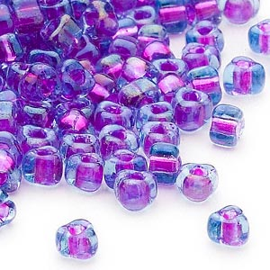 seed bead, miyuki, glass, transparent blue color-lined purple, (tr1141), #5 triangle. sold per 25-gram pkg.