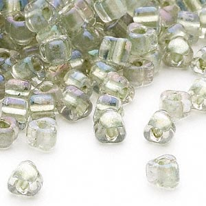 seed bead, miyuki, glass, transparent clear color-lined foam green, (tr1135), #5 triangle. sold per 250-gram pkg.
