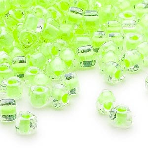 seed bead, miyuki, glass, transparent clear color-lined lime, (tr1119), #5 triangle. sold per 25-gram pkg.